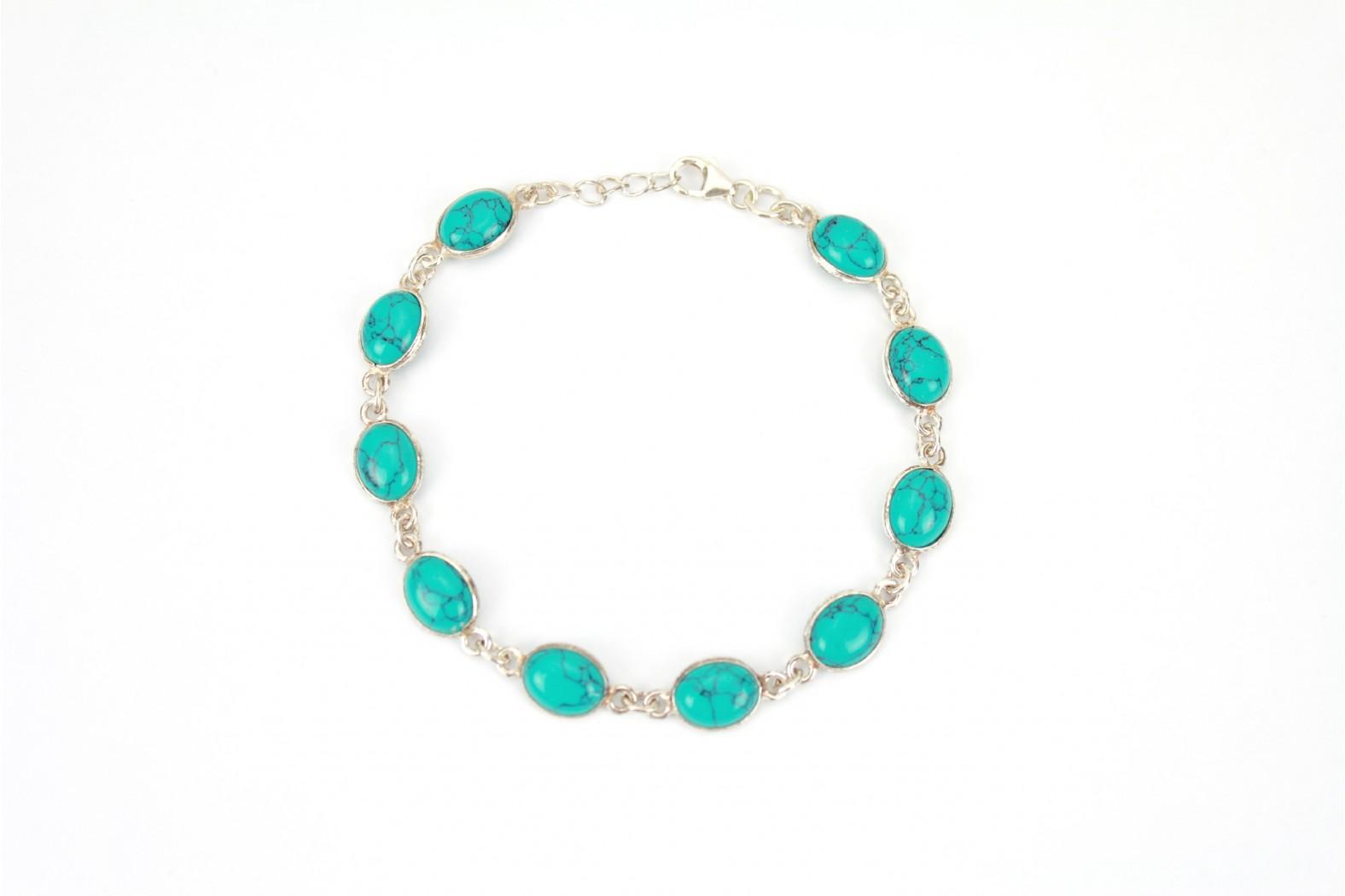 Turquoise 10 stone silver set claw clasp Bracelet