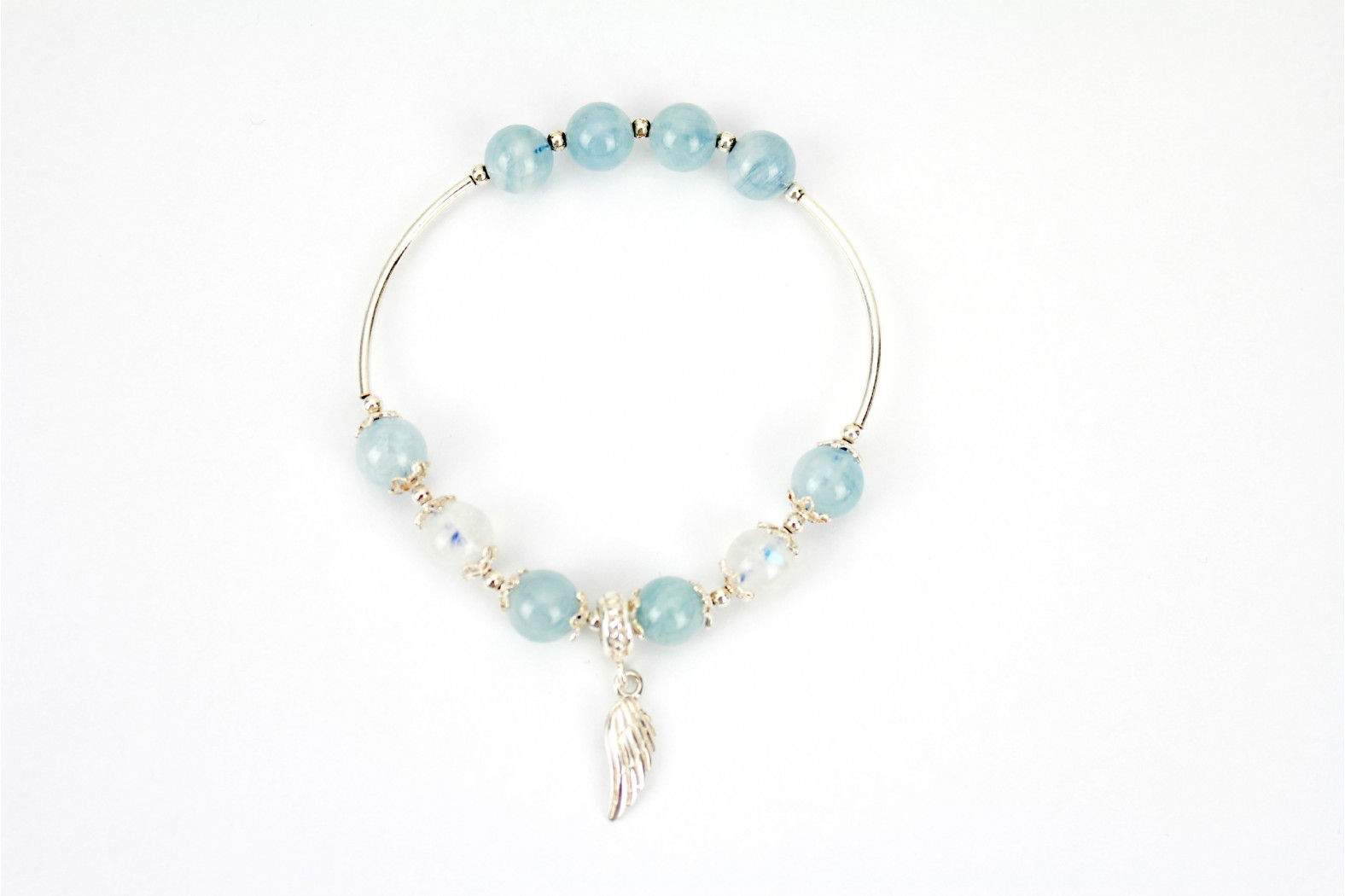 Elasticated Opalescent with silver inserts Bracelet.  TEMPORARILY OUT OF STOCK.