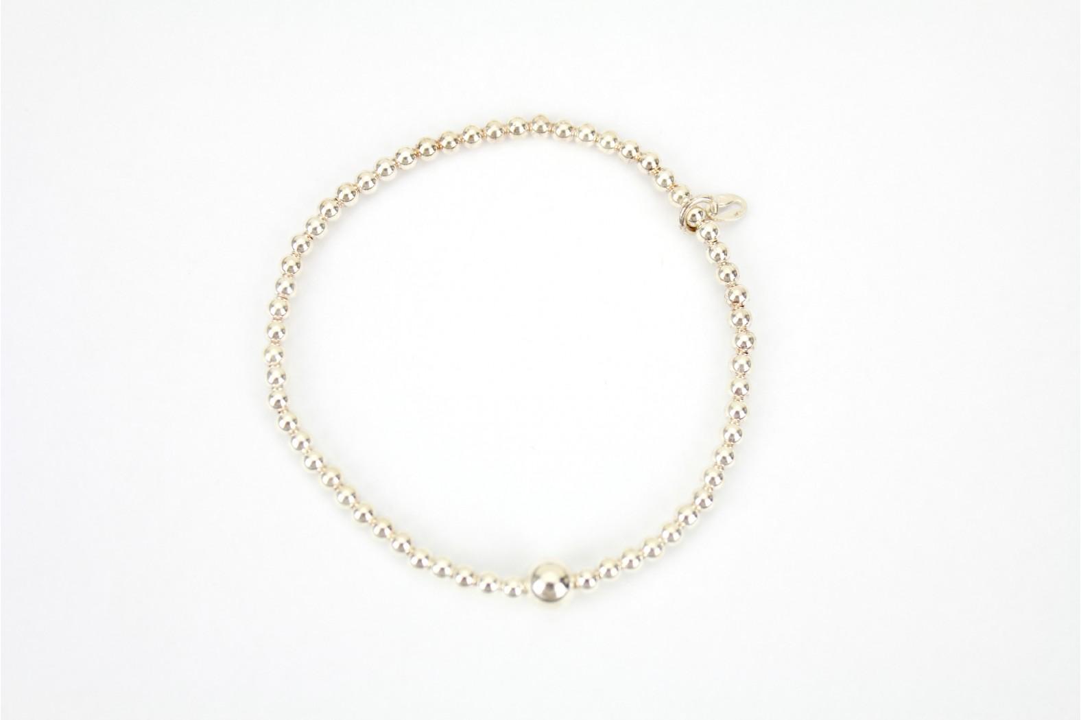 Elasticated silver ball contemporary light Bracelet