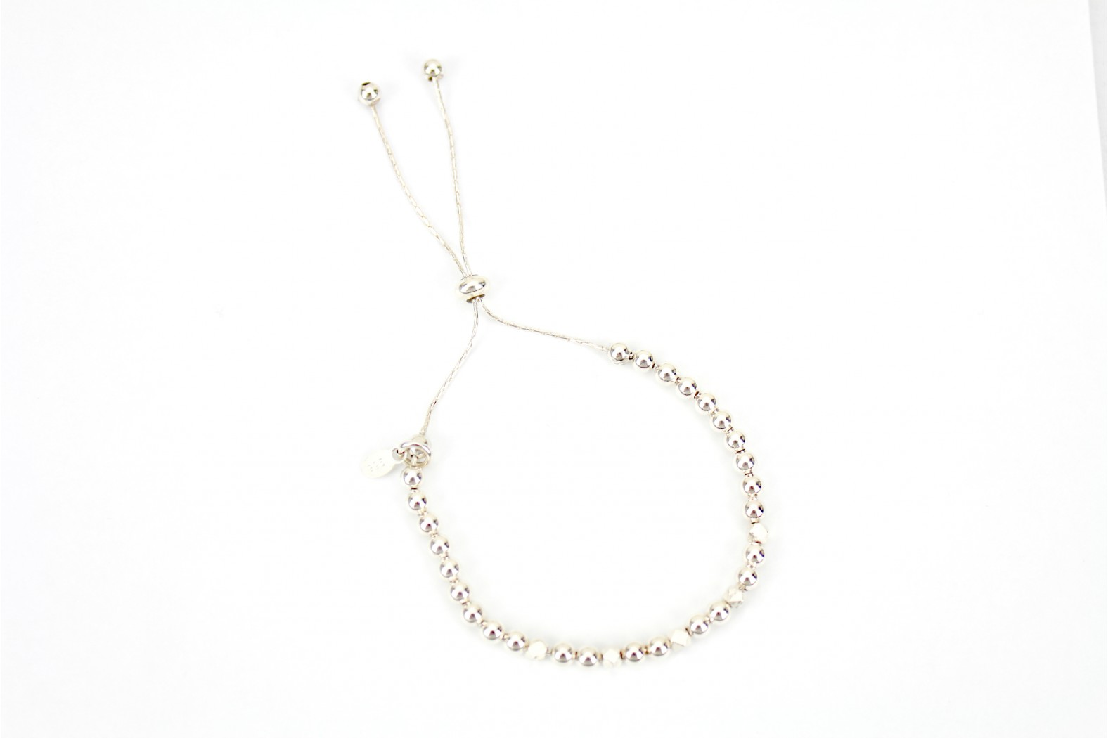 Adjustable pull style to alter silver ball Bracelet