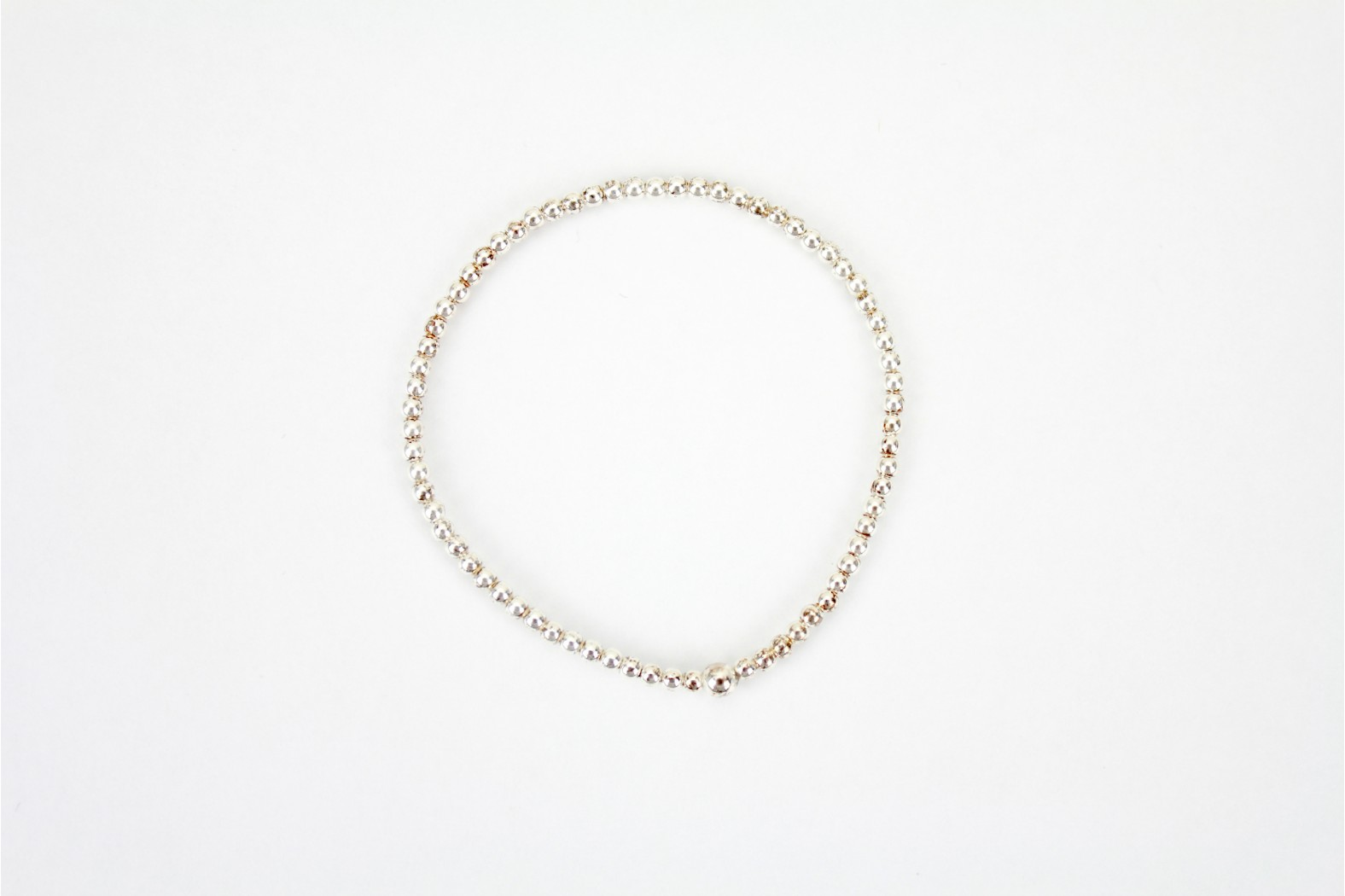 Silver ball small 40mm diameter Elasticated Bracelet