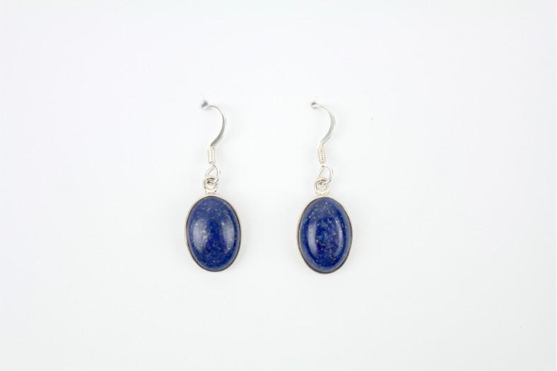 Lapis Oval silver set drop earrings