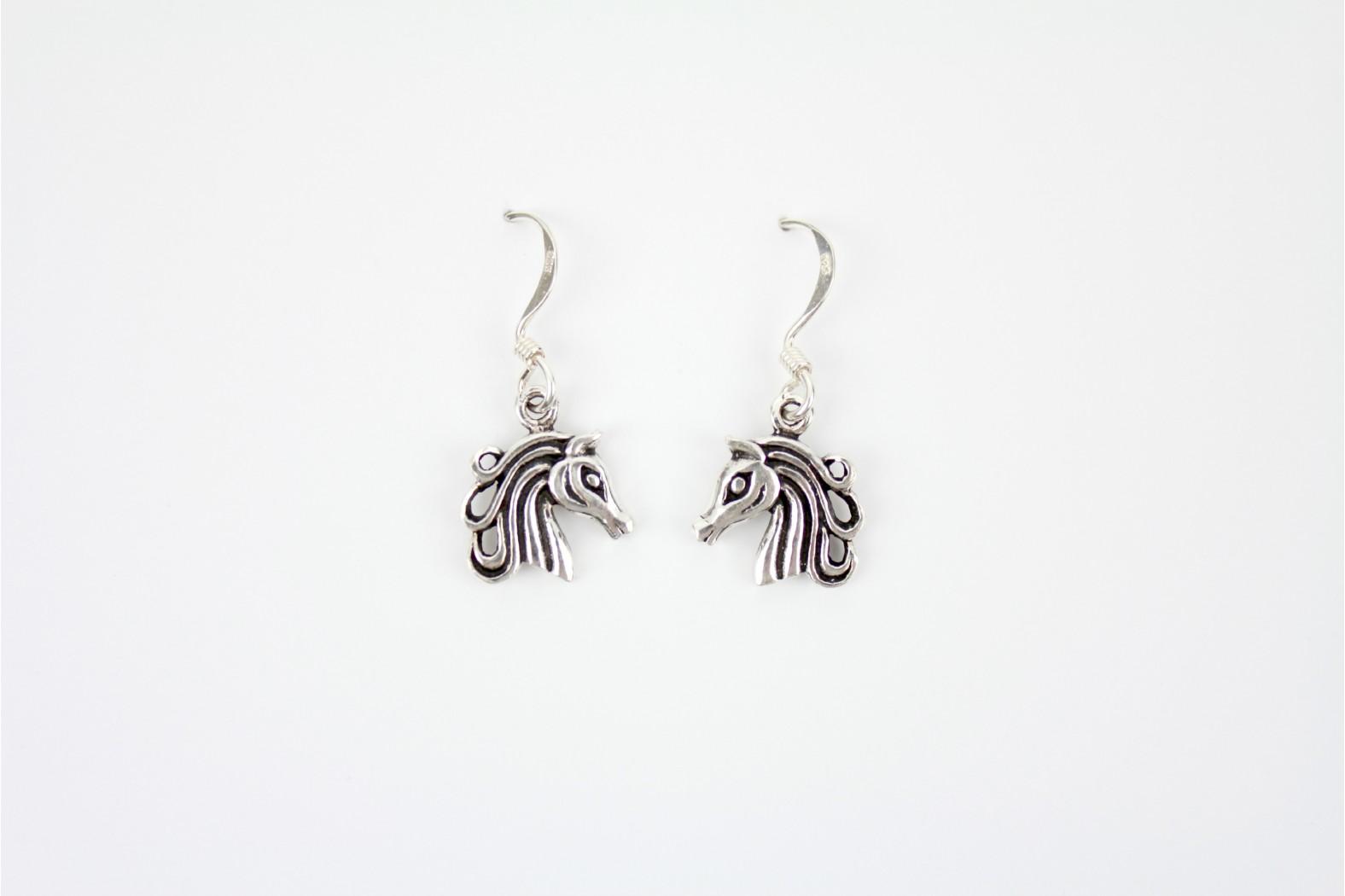 Horses Head open design silver drop earrings