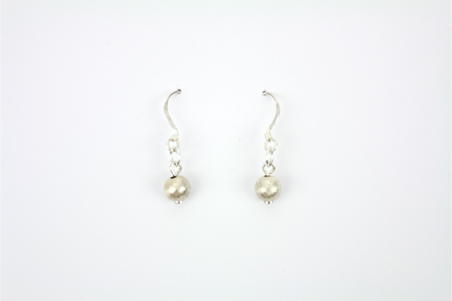 Single Ball Matt silver drop earrings Hand Made Individual design