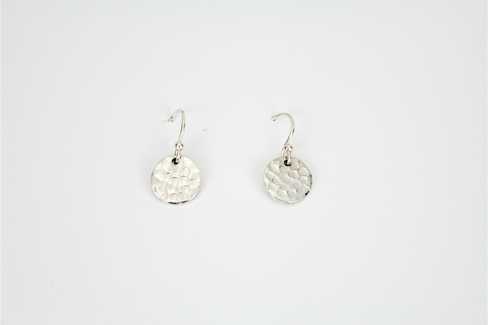 Circular plain pattern silver drop earrings Hand Made Individual design TEMPORARILY OUT OF STOCK.