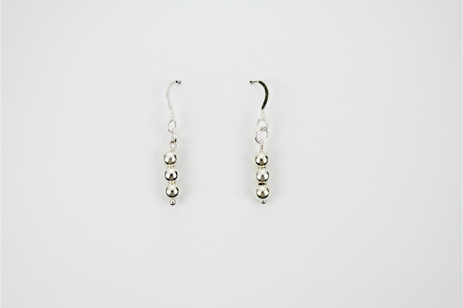 Triple Ball silver drop earrings Hand Made Individual design