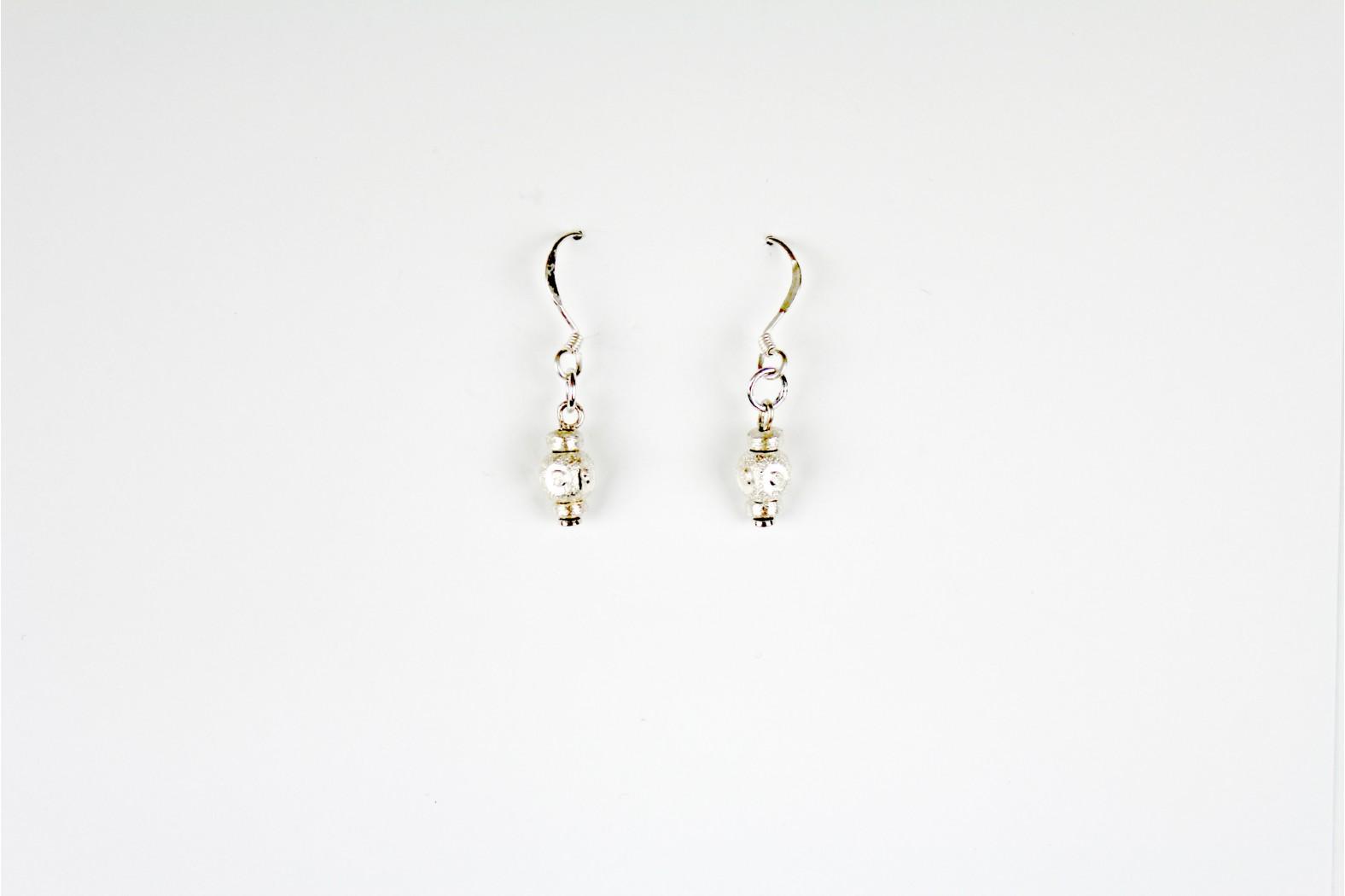 Matt Silver Combination style drop earrings Hand Made Individual design