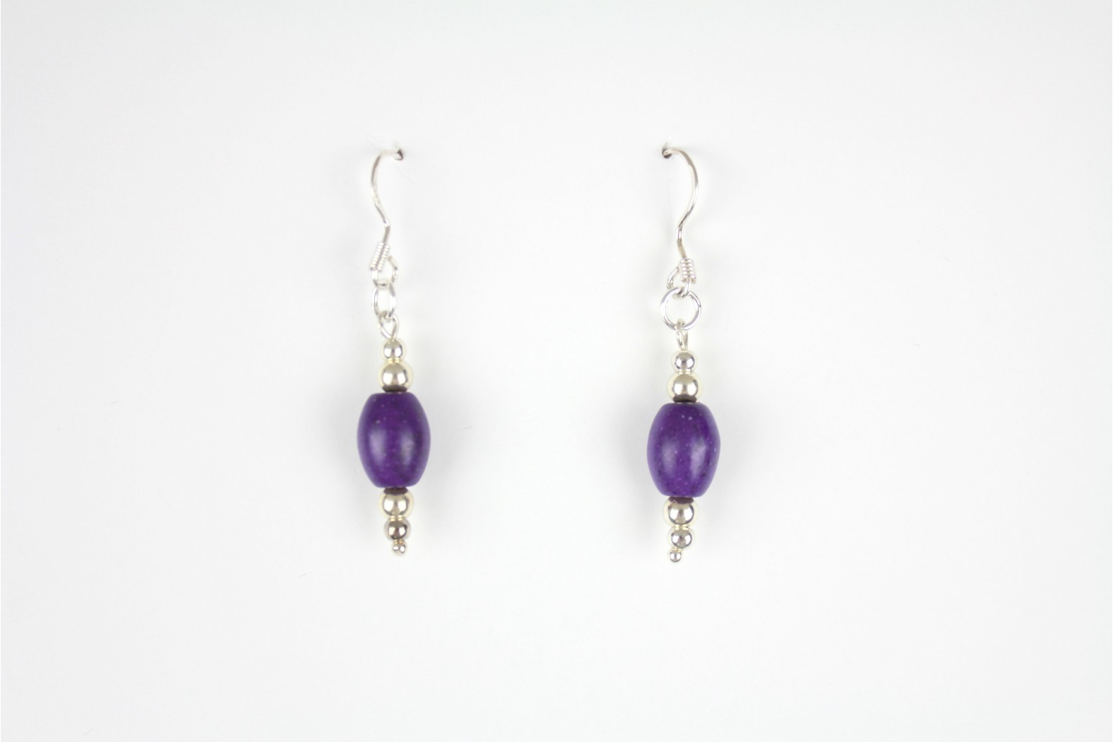 Purple Oval silver embellished drop earrings Hand Made Individual design