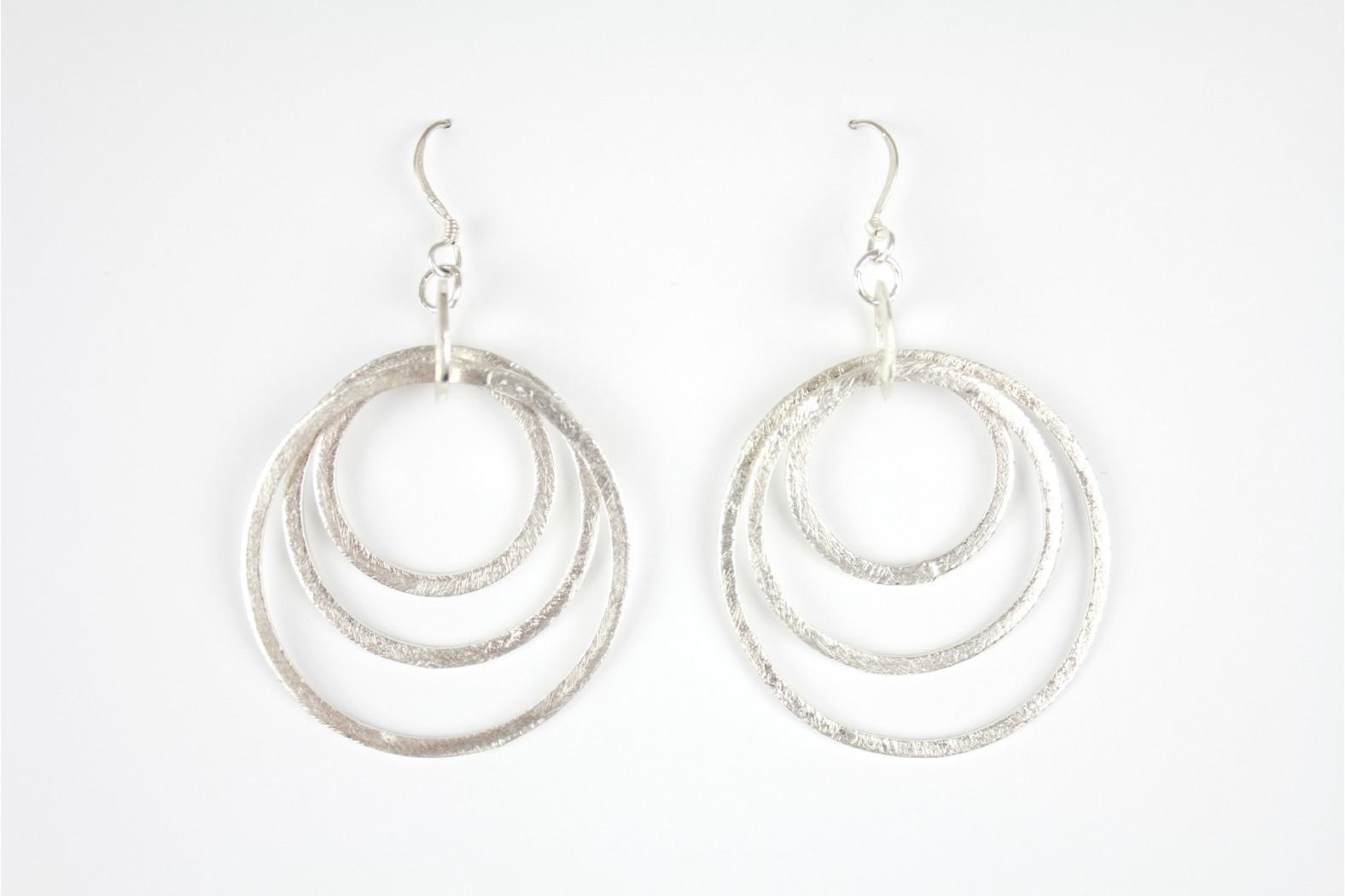 DE017. Large Triple circular pattern drop earrings Hand Made Individual design. £35.00 pair.