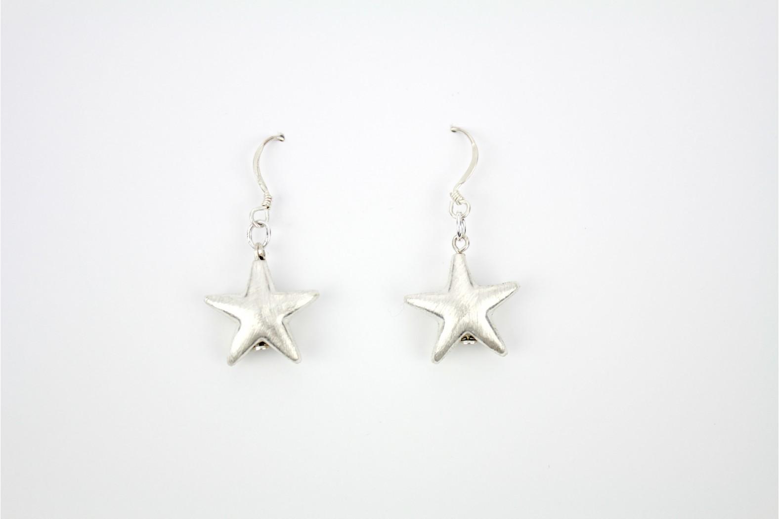 Medium Matt Silver stars drop earrings Hand Made Individual design