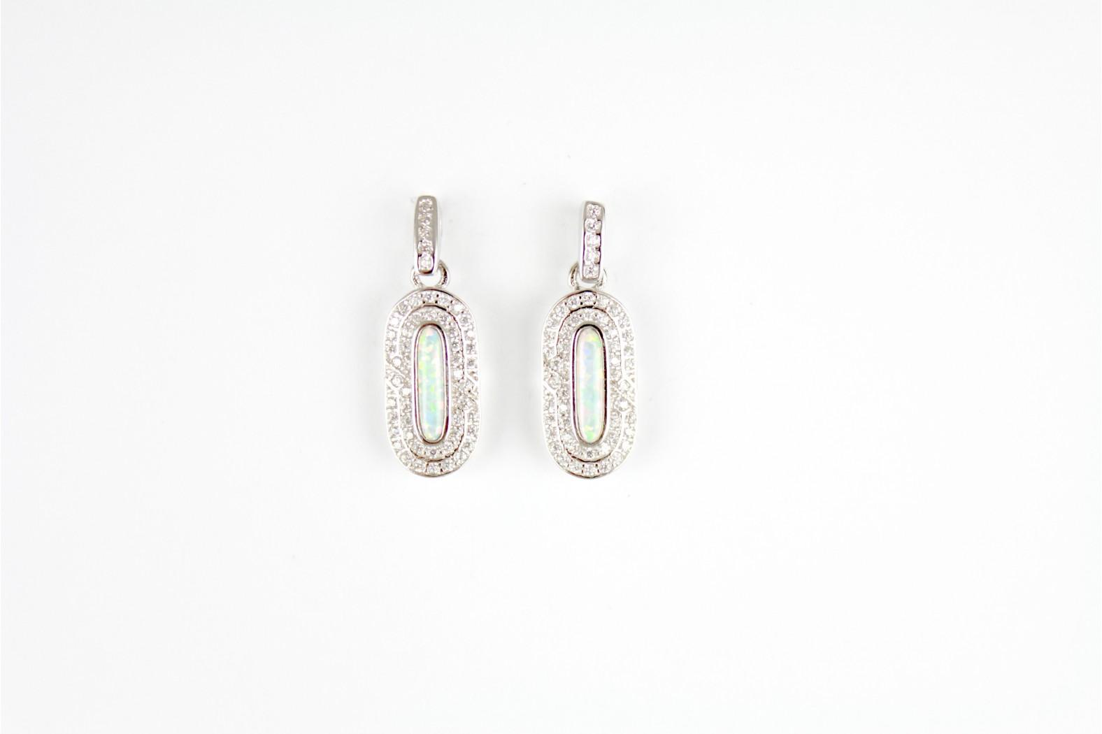Drop Stud White Opal Fire Diamanté embellished