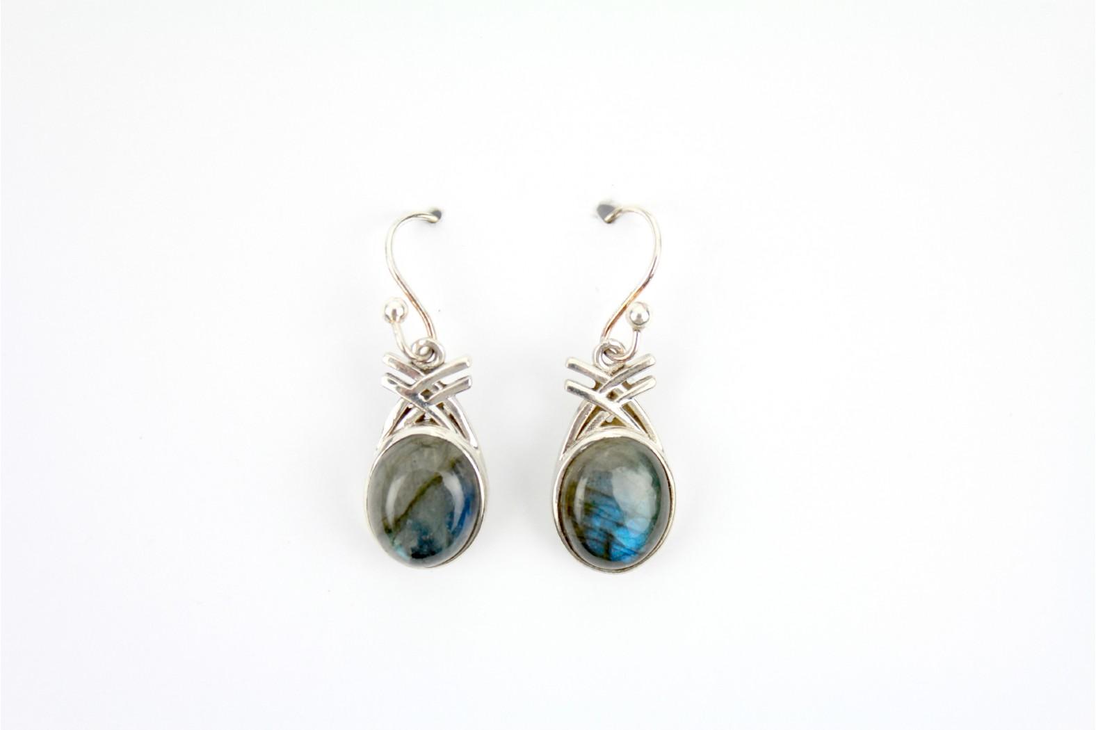 Short Drop oval Labradorite Silver set earrings