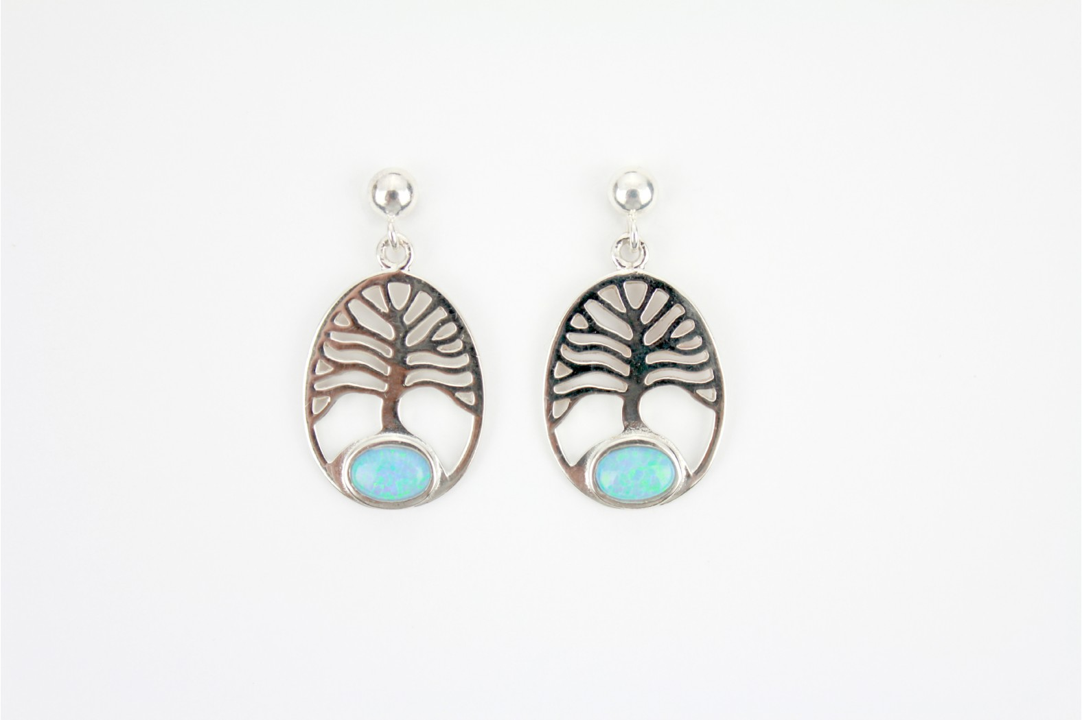 Drop Stud Tree of Life embellished with Blue Opal Fire silver set earrings. TEMPORARILY OUT OF STOCK.