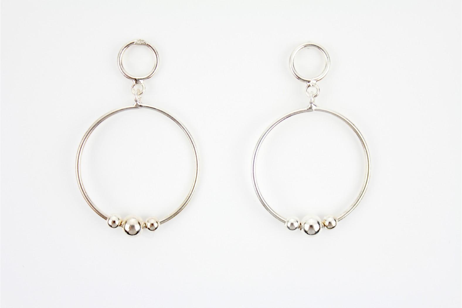 Drop Stud Contemporary Circular Silver earrings
