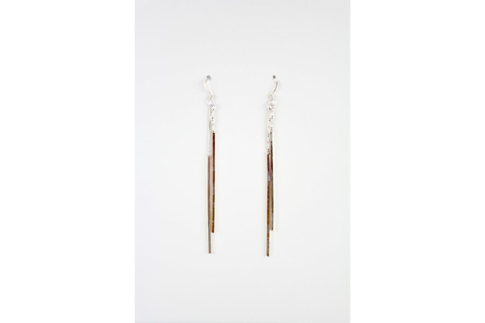 Long Drop Double Contemporary design earrings silver