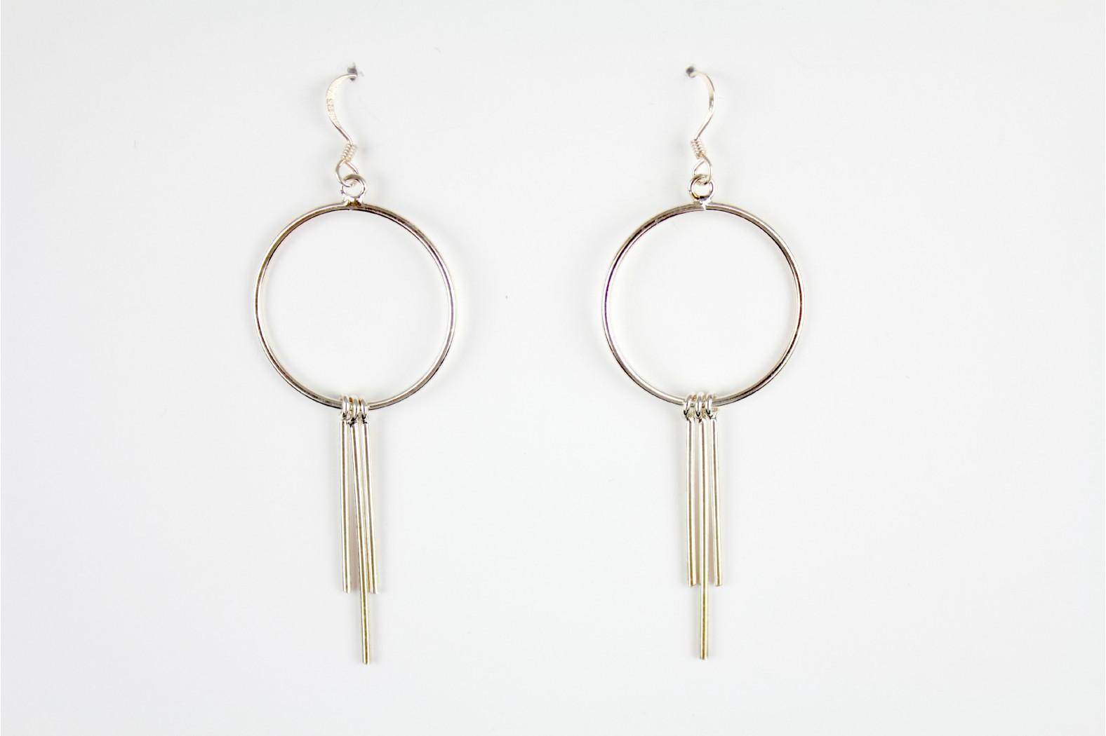 Long Drop Circular Contemporary design silver earrings