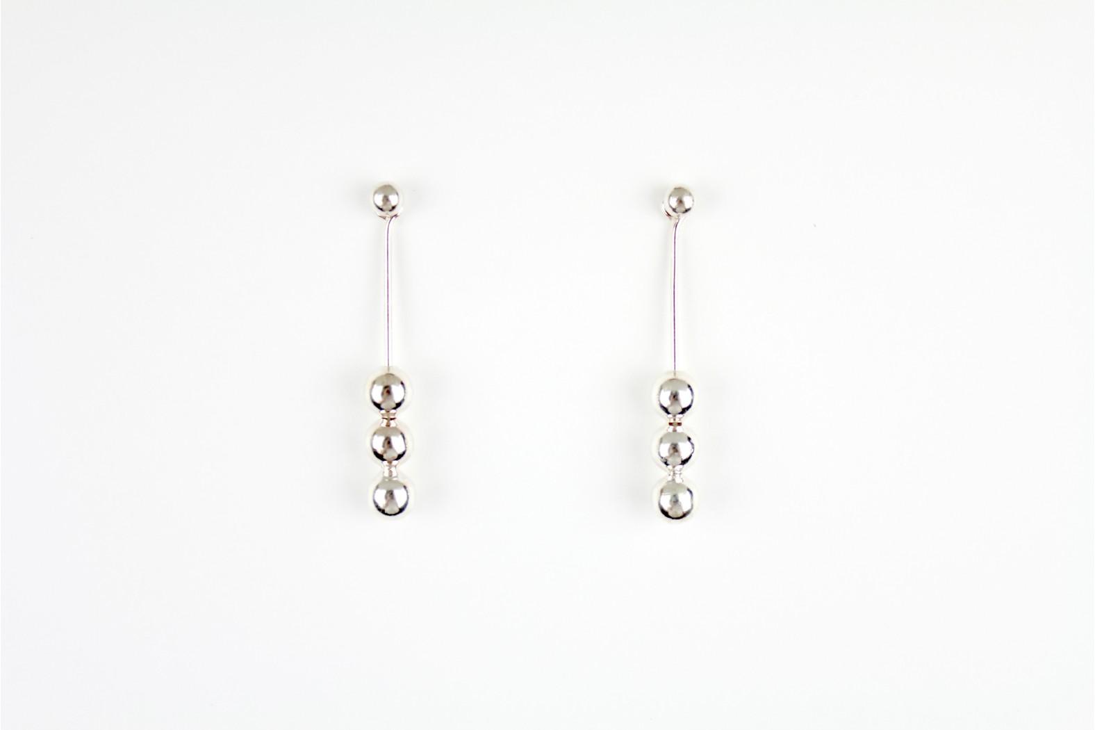Long Drop Stud Triple ball silver earrings