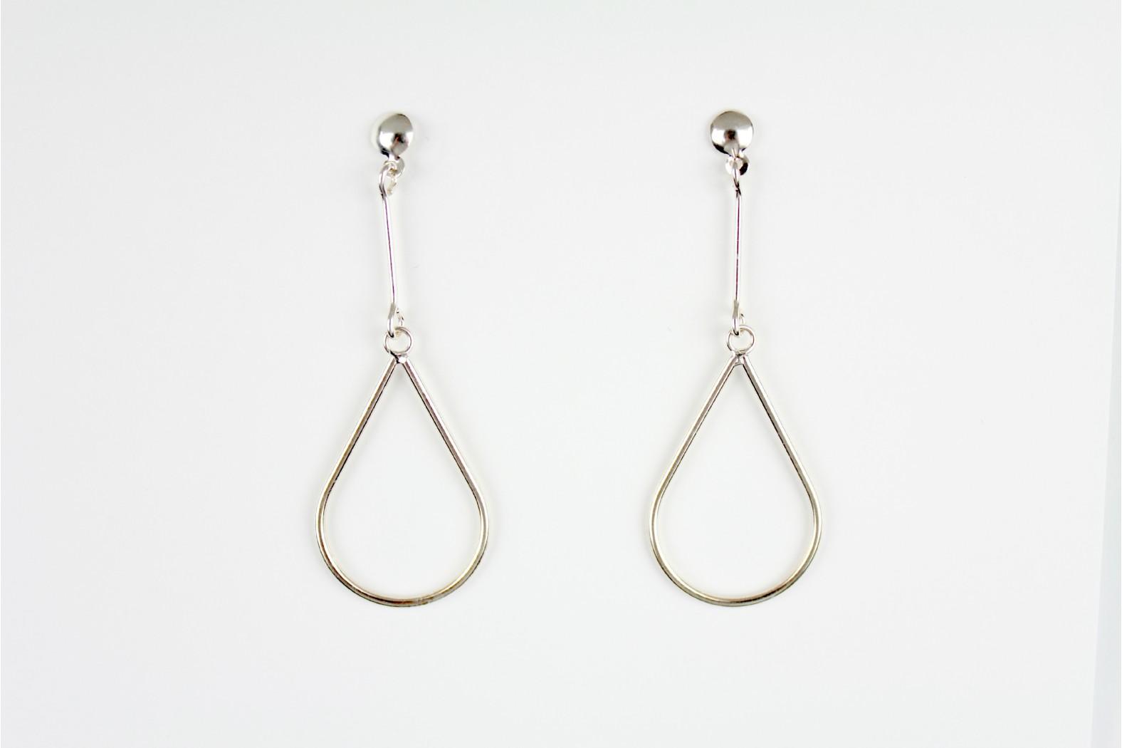Short Drop Larimar teardrop style silver set earrings