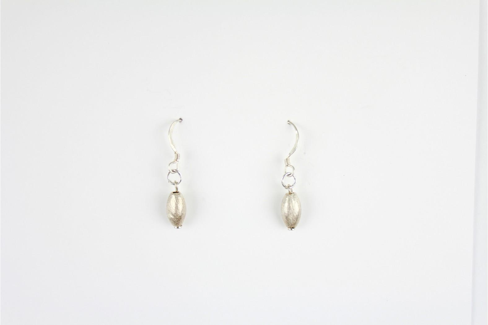 Short Drop Matt silver patterned earrings