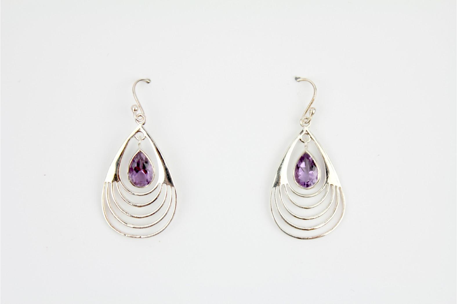 Large Tear Drop shape contemporary style Amethyst Stone earrings.