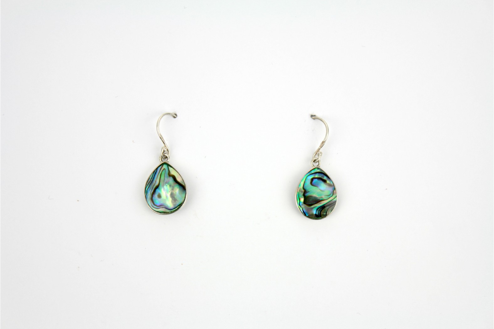 Short Drop reversal earrings Abalone Shell / Mother of Pearl style silver edge.
