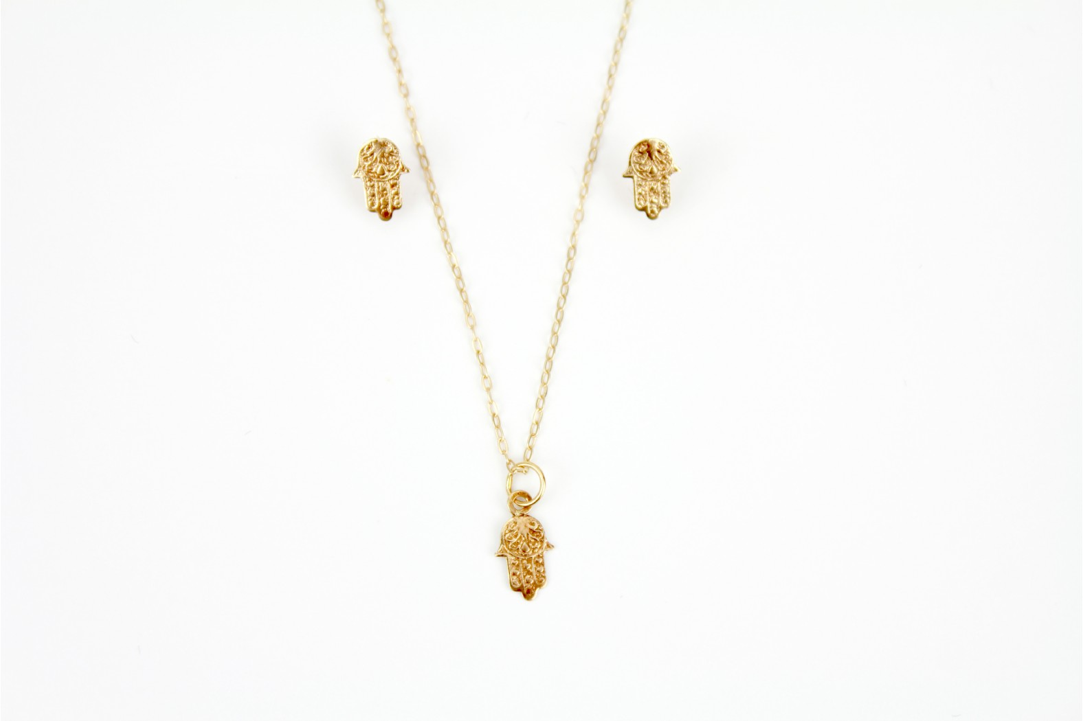 Gorgeous Hamsa or Fatimas hand pendant with complementary stud earrings on matching 18inch or 45cm chain