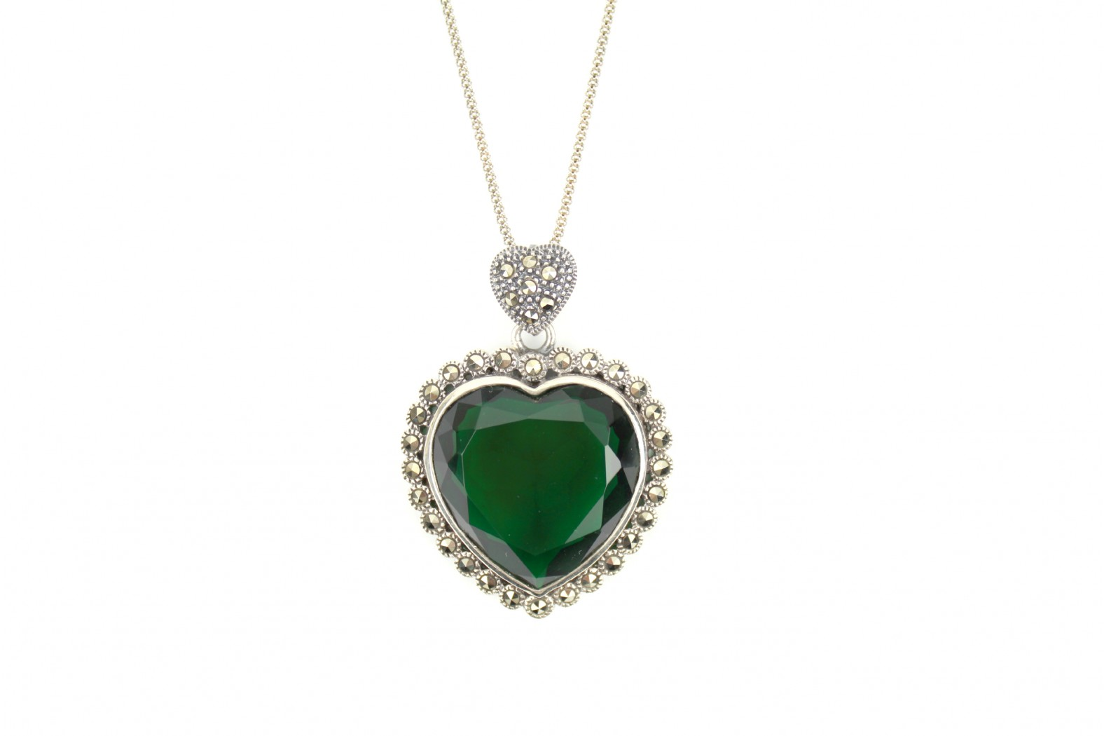 Stunning large faceted Heart Emerald colour surrounded with Marcasite stones With 20inch 50cm advanced aged chain