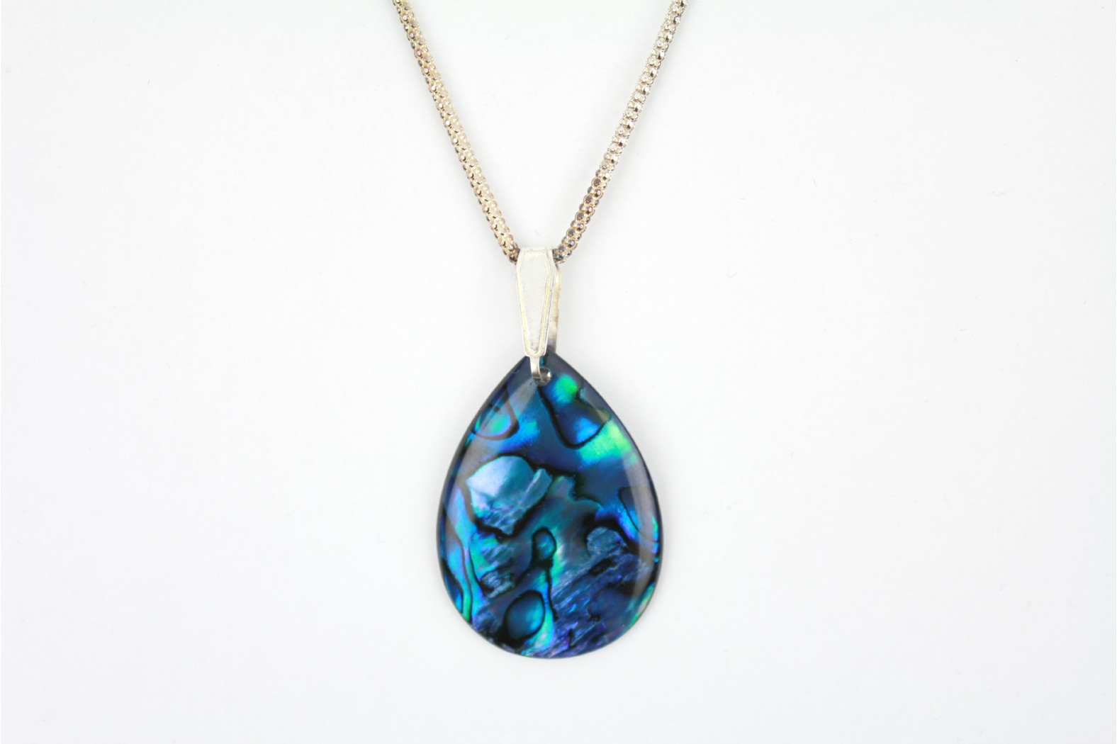 Blue abalone Shell Teardrop Shape with18 ins. 45cm heavy Popcorn chain. TEMPORARILY OUT OF STOCK