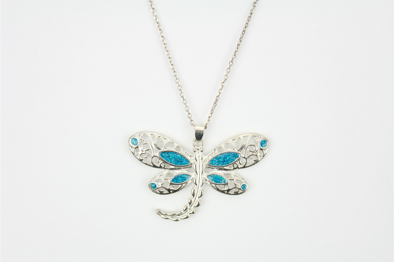 Silver Dragonfly Blue Opal Fire Detailing with 18ins. 45cm Cable Style chain