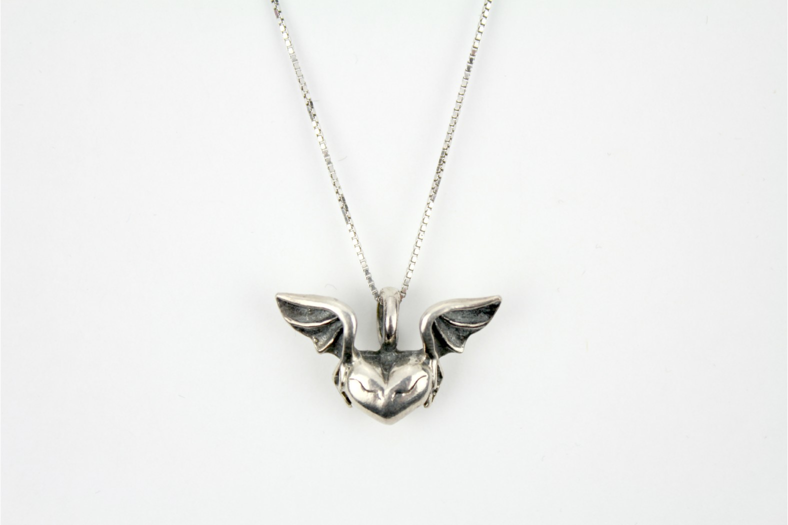 Silver Heart with Wings on a 18ins. 45cm Curb Style chain