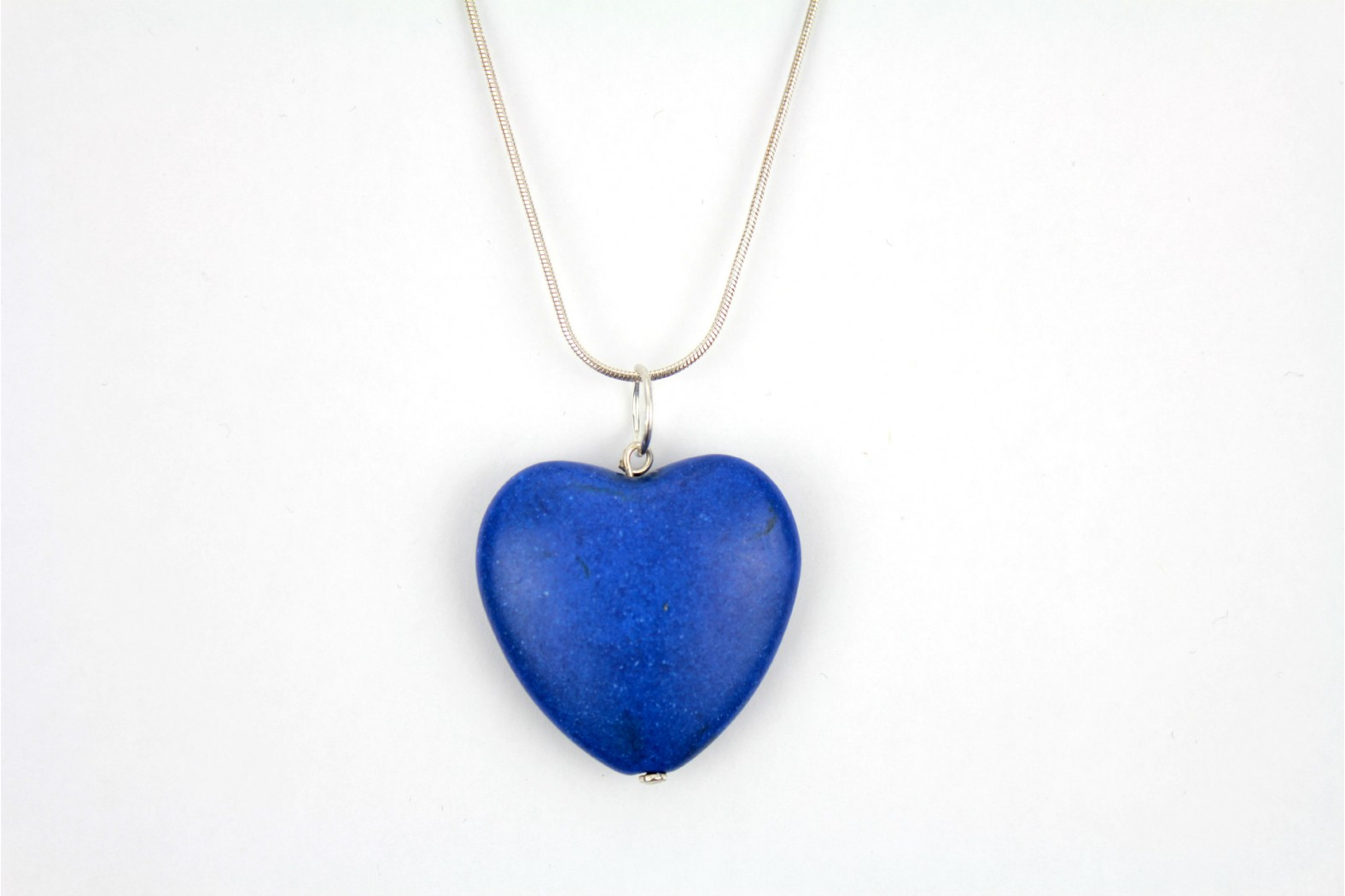 Large Blue Lapis Heart on 18inch or 45cm. Snake Chain