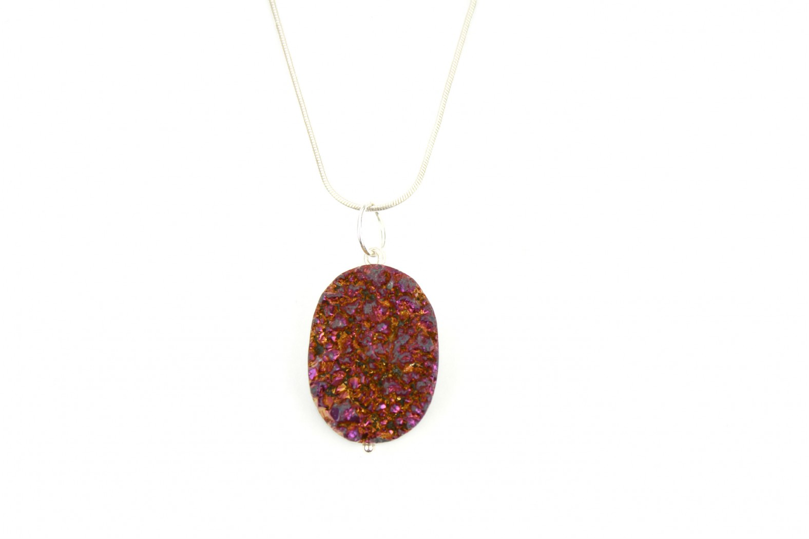 Oval shape Purple/Bronze elements Druzy finish on 18inch or 45cm Snake Chain