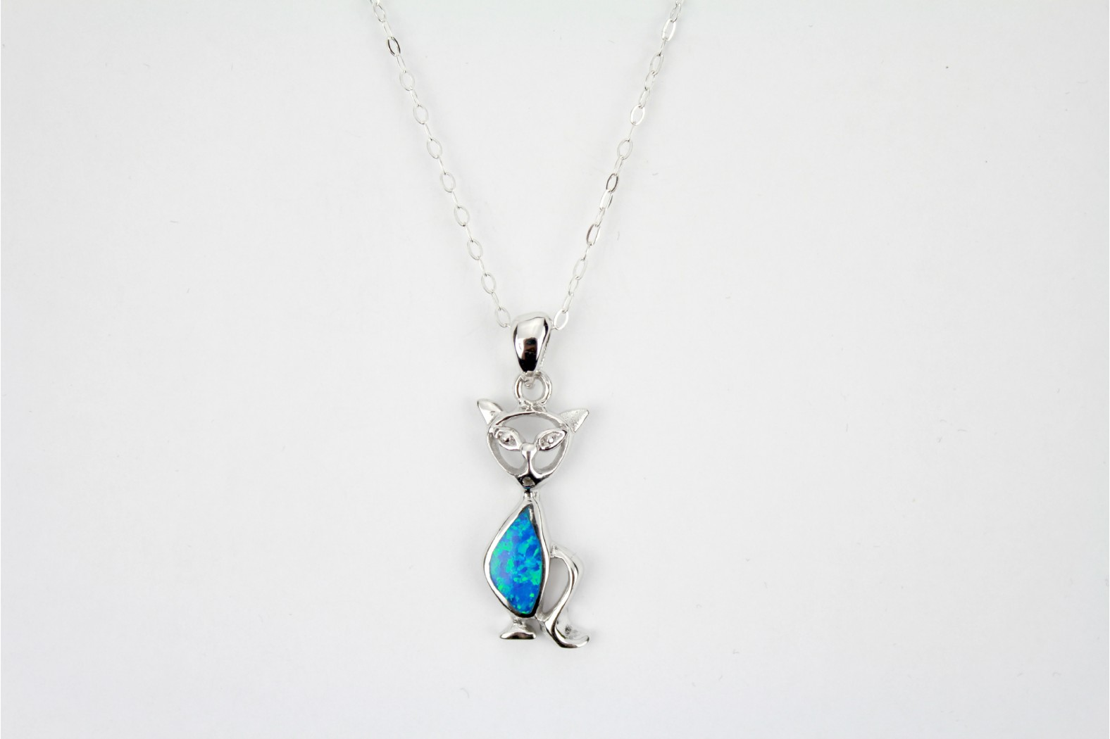 Silver Cat Embellished with Blue Opal Fire Body on a 18ins 45cm Cable Style chain