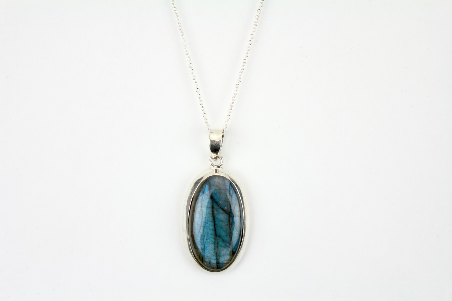 Blue Labradorite Oval set on Thick Silver with 20ins.50cm Cable Chain. TEMPORARILY OUT OF STOCK