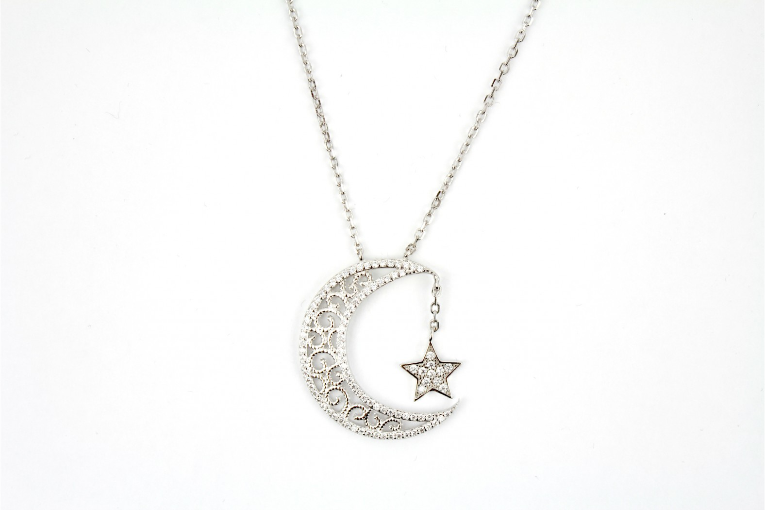 Beautiful Half Moon Hanging Star Embellished with C.Z.stones on 16/18ins 40/45cm chain.