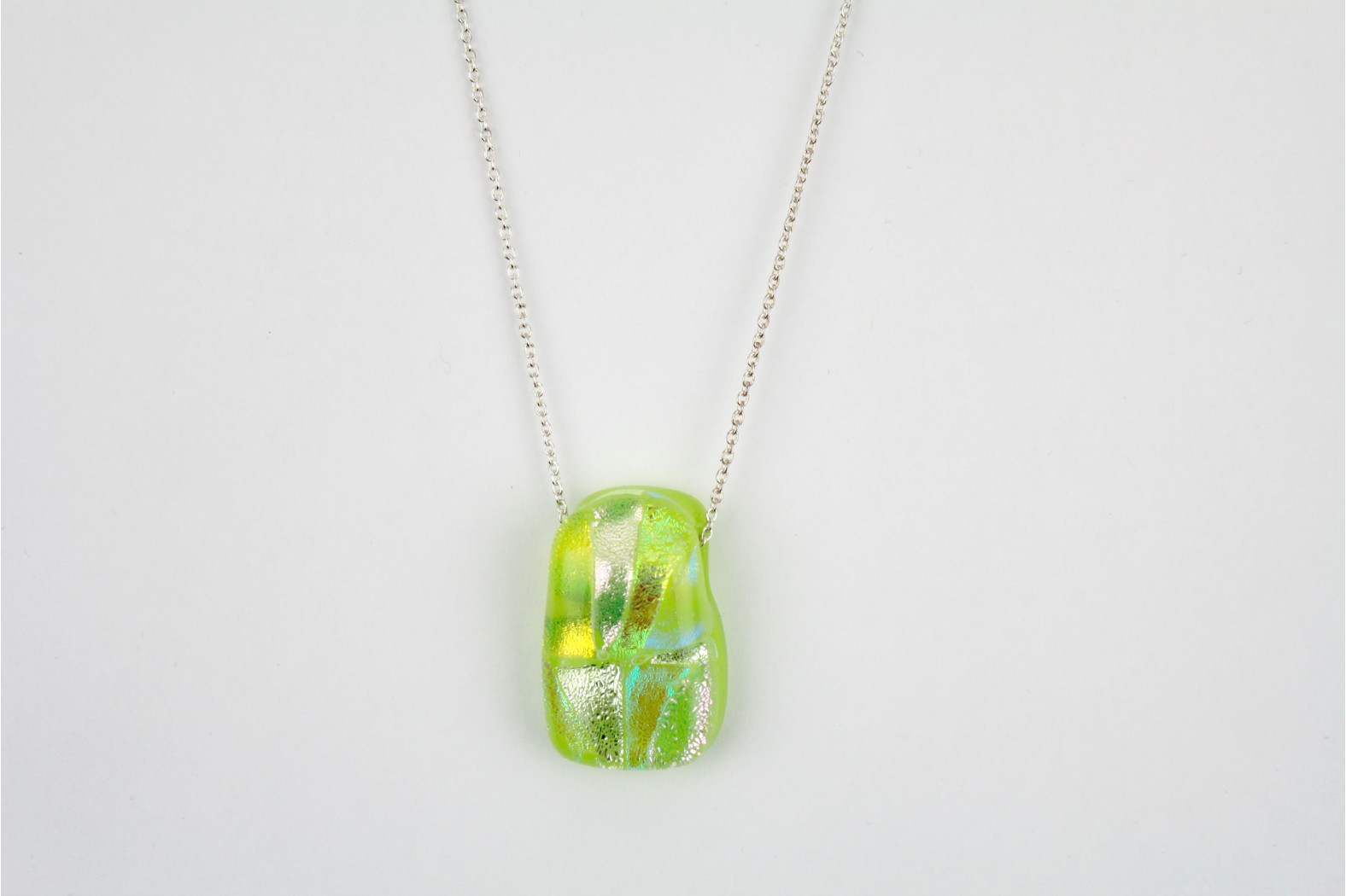 Dichroic Glass Lime Multicolour on 20ins.50cm Cable Chain