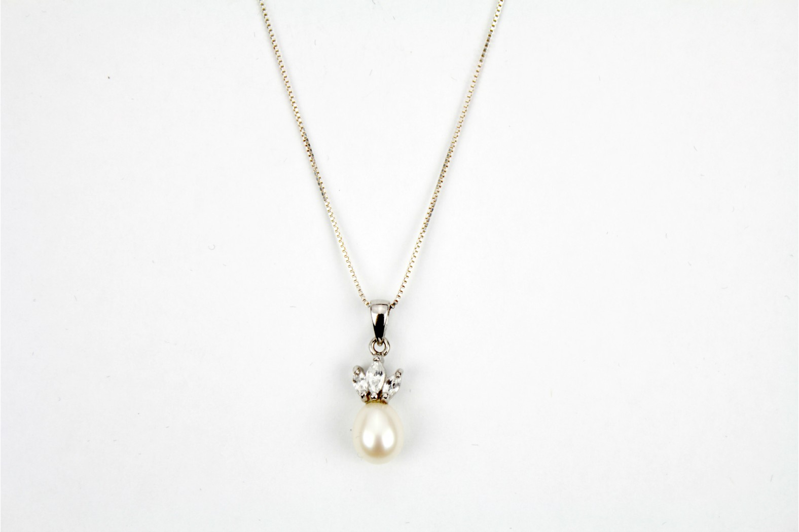 Beautiful Pearl drop triple set cubic zirconia on 16ins 40cm curb chain. DELIVERY 10 WORKING DAYS