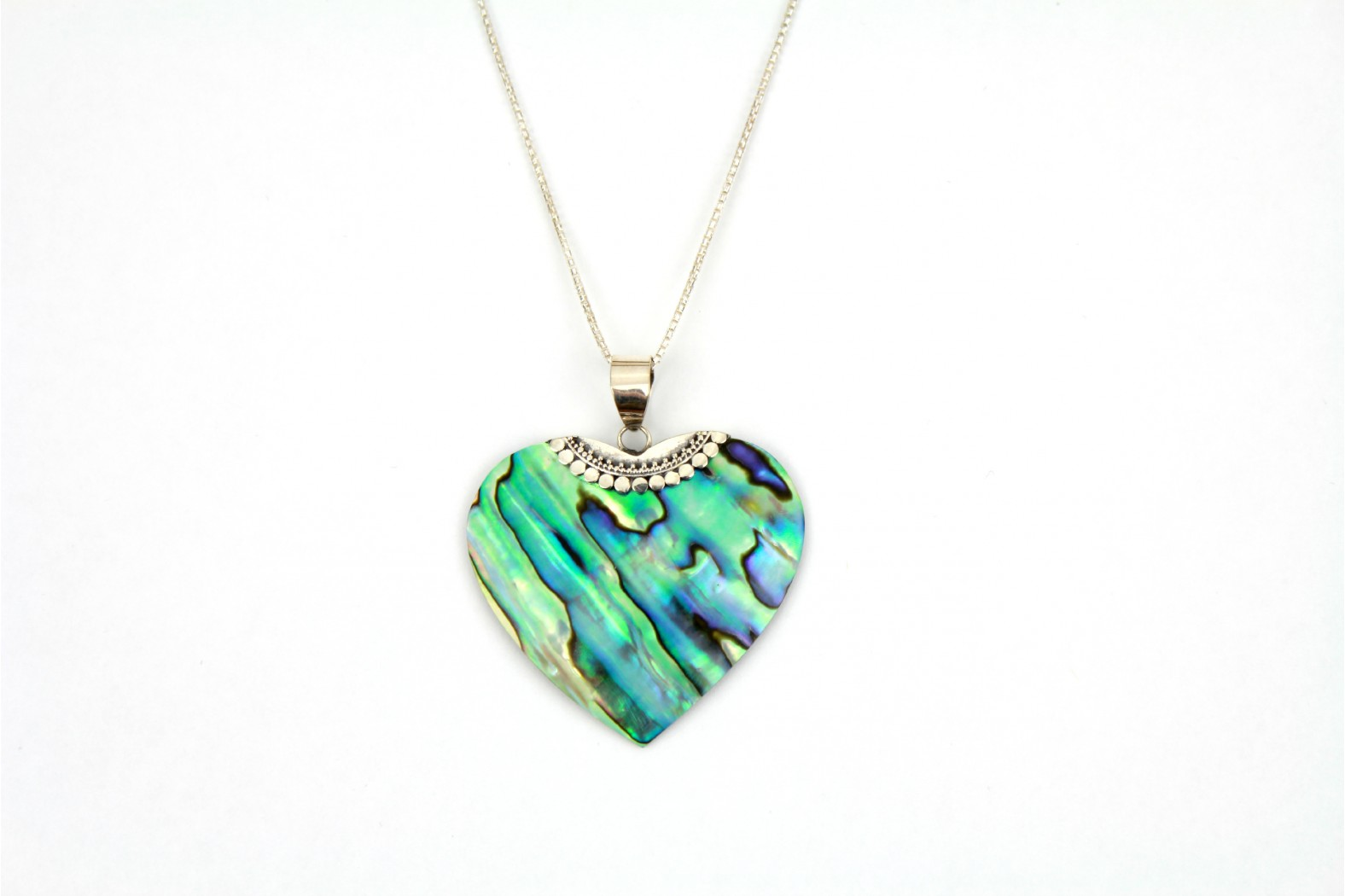 Large Abalone Shell slim heart with silver detailing on 20ins 50cm curb chain