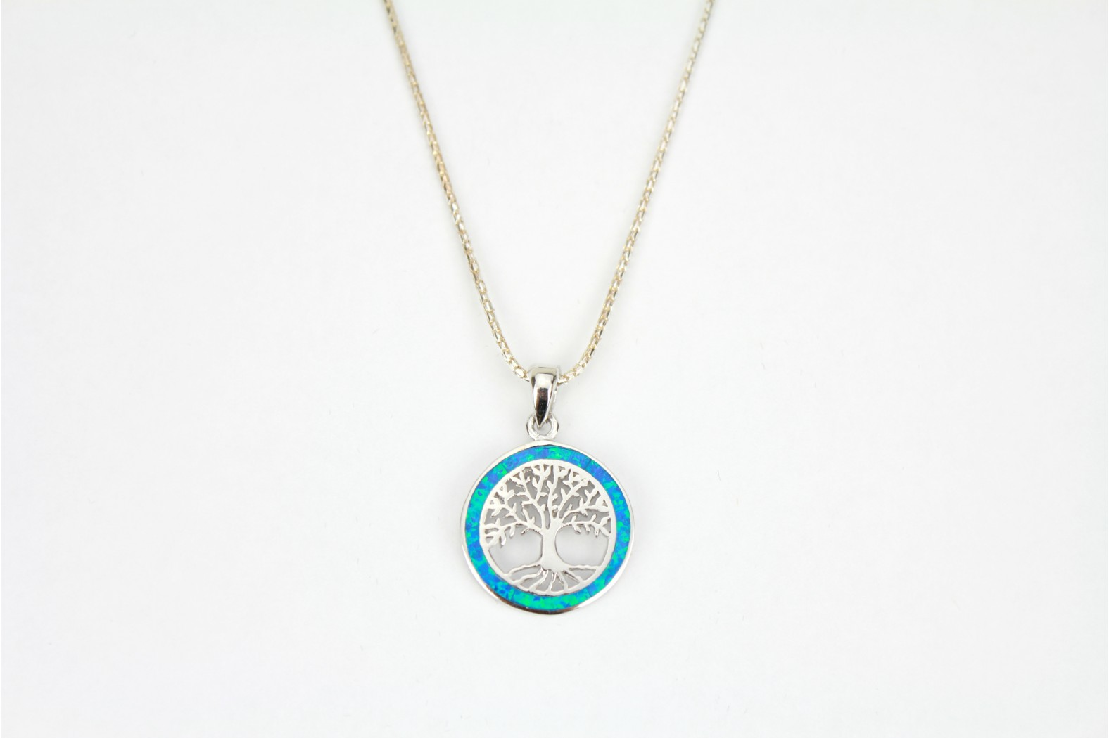 Silver Tree of Life embellished with Blue Opal Fire detailing on 18ins  45cm popcorn chain  DELIVERY 7 WORKING DAYS.
