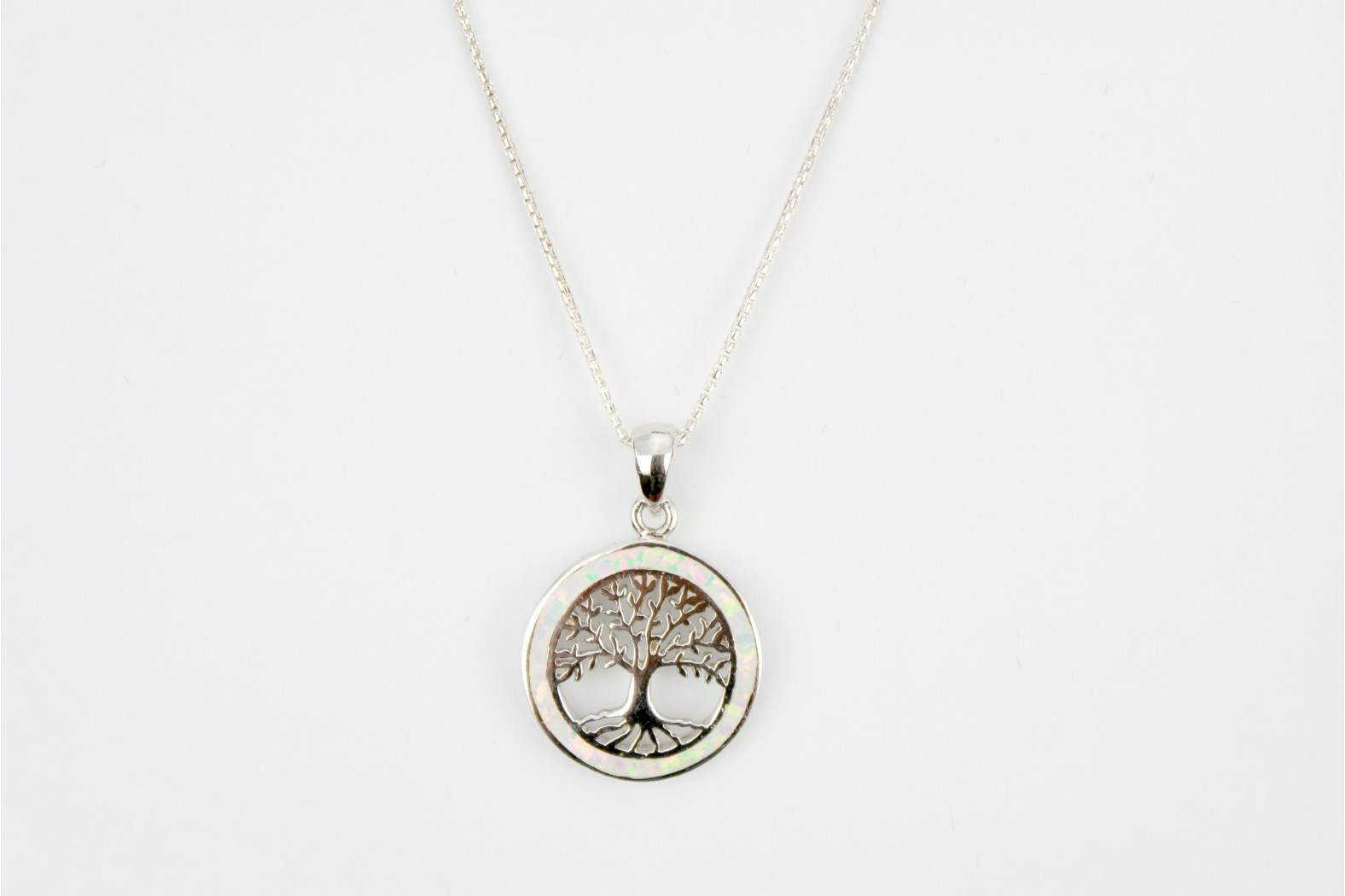 Silver Tree of Life embellished with White Opal Fire detailing on 20ins  50 cm curb chain. TEMPORARILY OUT OF STOCK