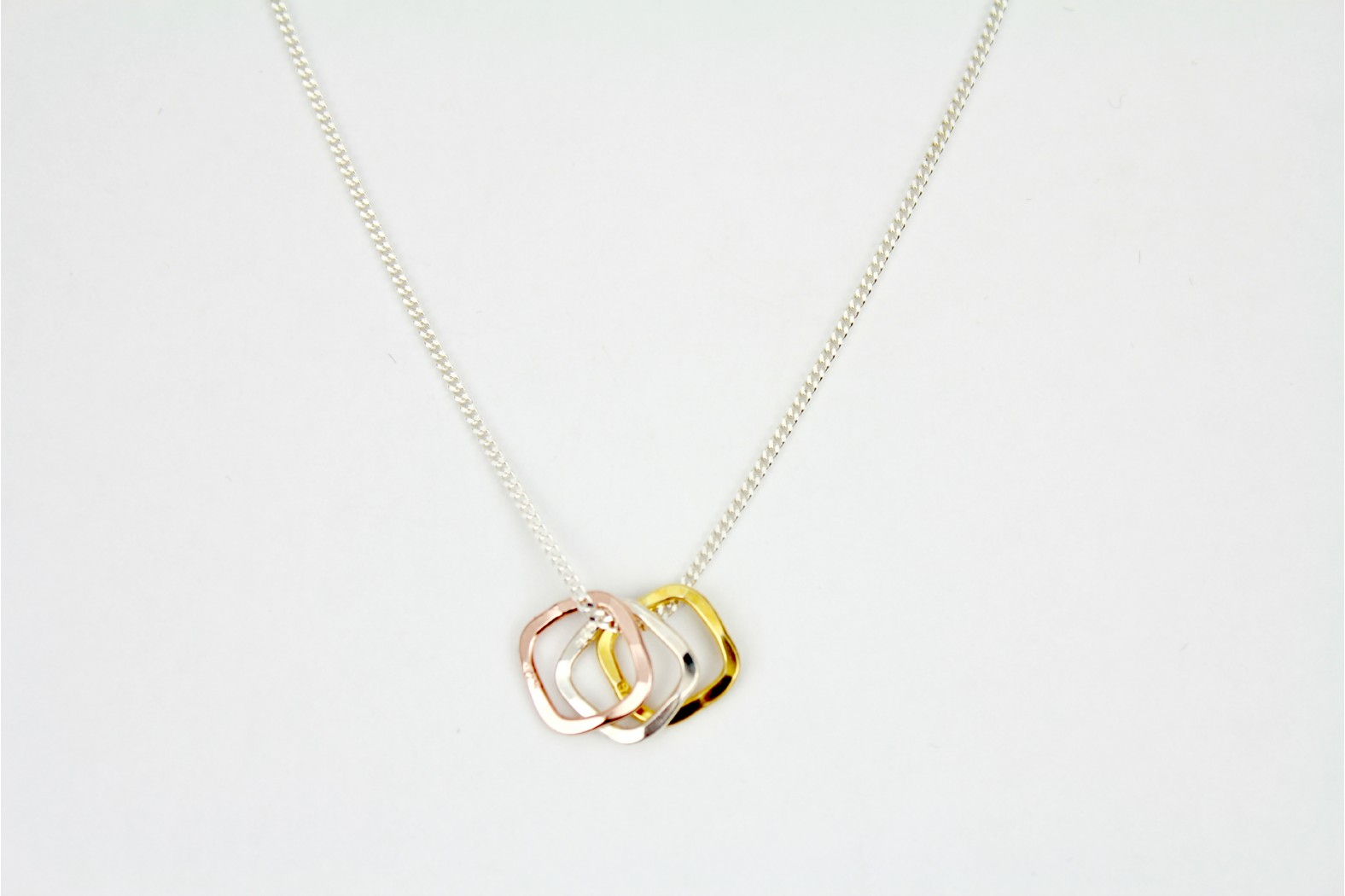 Tricolour Rose/Yellow gold plus silver contemporary style on 18ins. 45cm rope chain