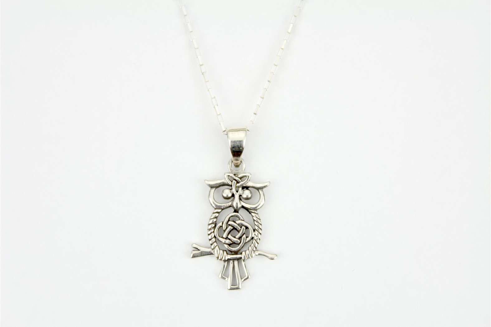 Large silver Celtic design Owl on 18ins. 45cm box link chain