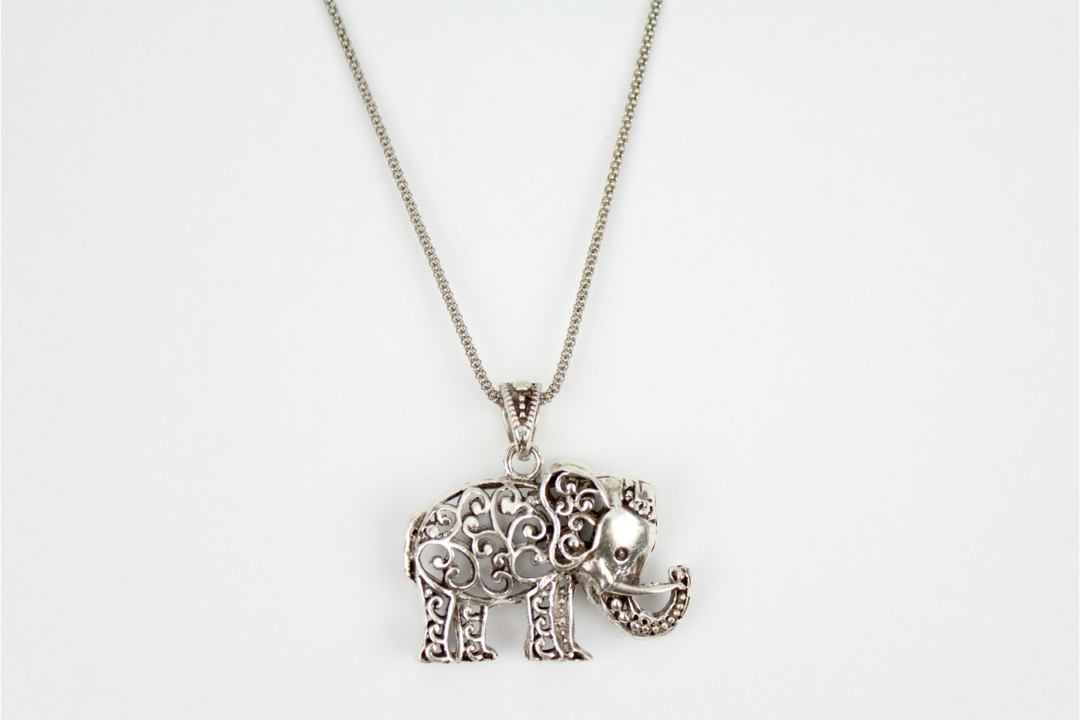 Beautiful large aged silver elephant cut out design on 22/24ins. 55/60cm chain which  has undergone advanced ageing to match.