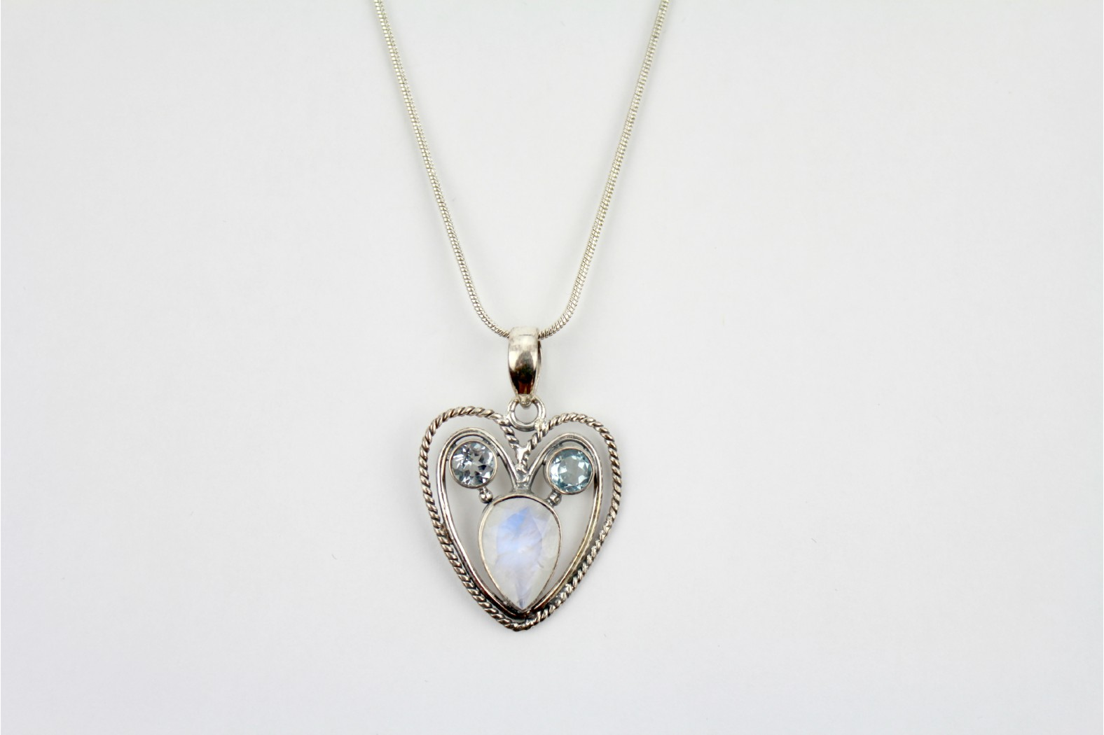 Heart shaped Rainbow Moonstone and Blue Quartz stone settings on silver with 18ins. 45cm snake chain