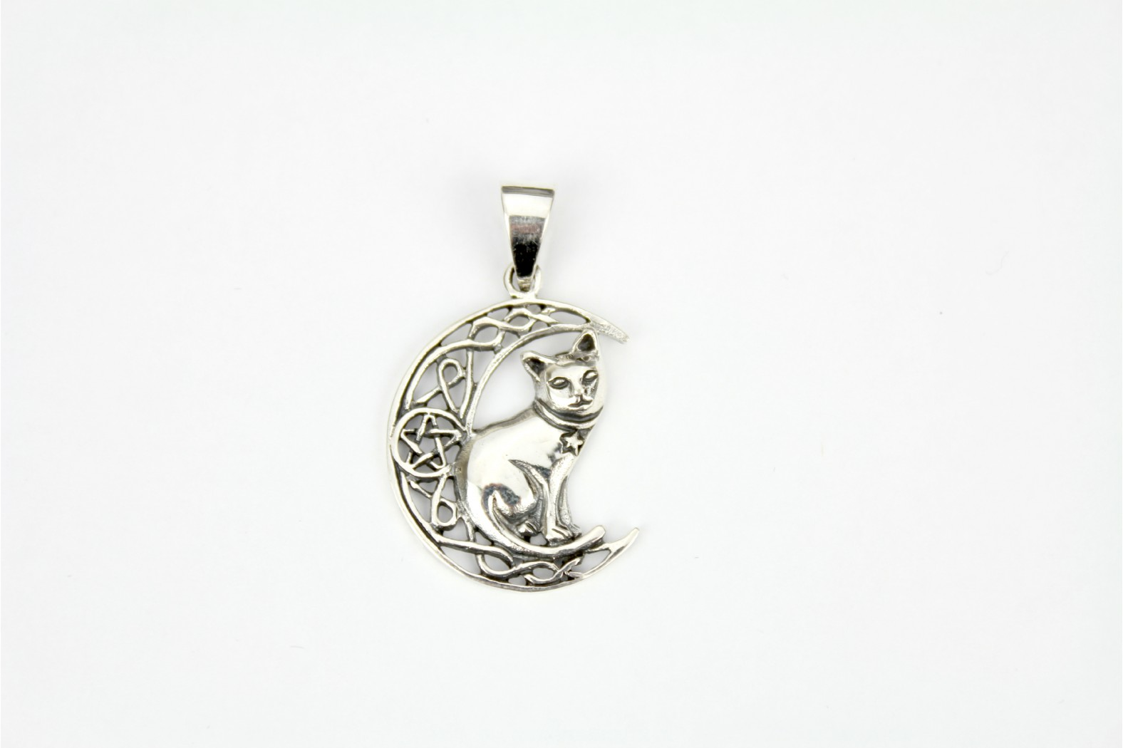 Cat on moon style set on silver detailing. DELIVERY ON THIS ITEM 7 WORKING DAYS.