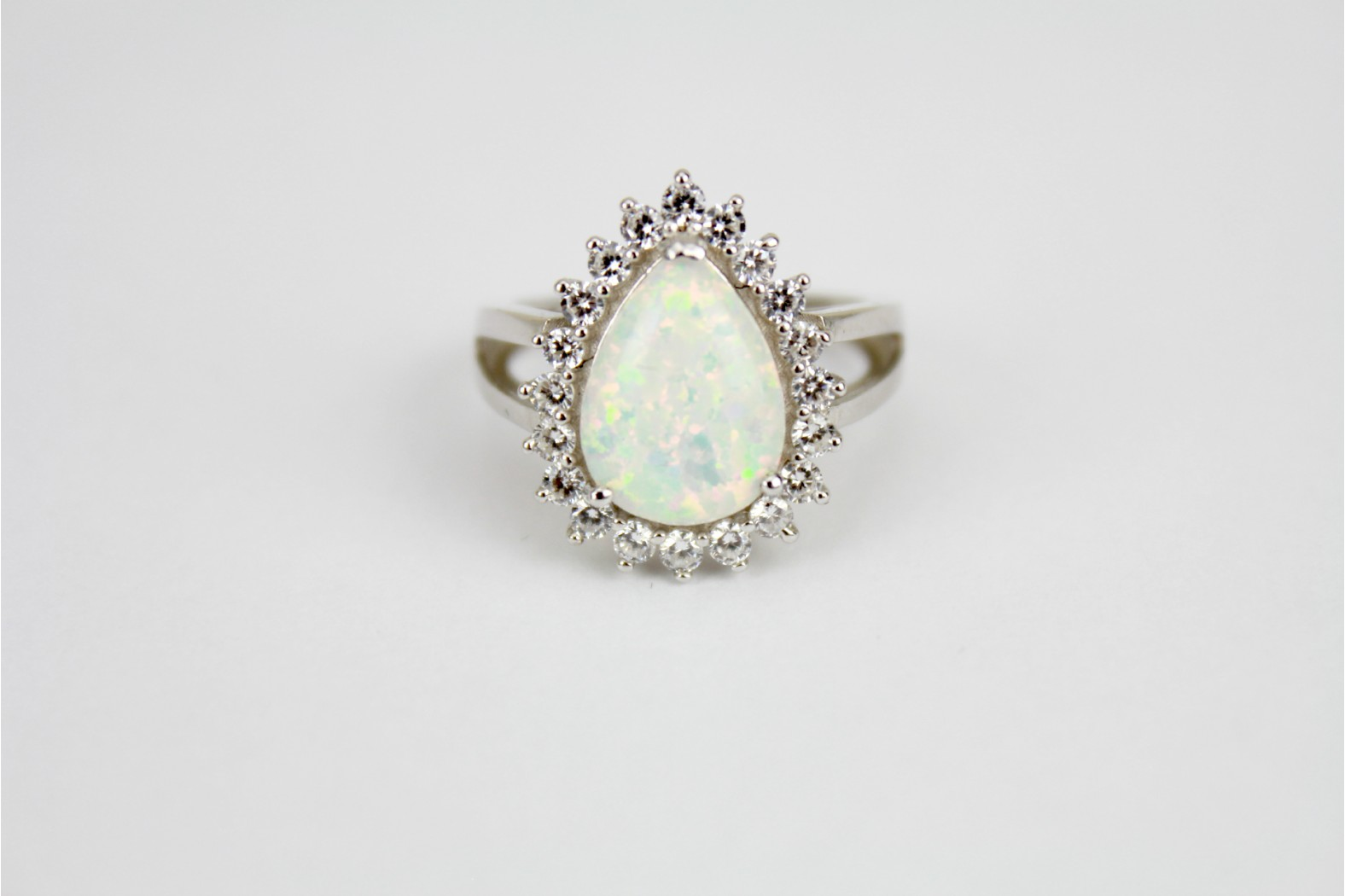 Stunning large teardrop white Opal fire with cubic zirconia size 8 or P