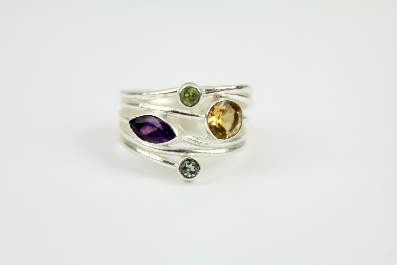 Stunning Quadruple multi colour stone Polished Silver size 9 or R. TEMPORARILY OUT OF STOCK