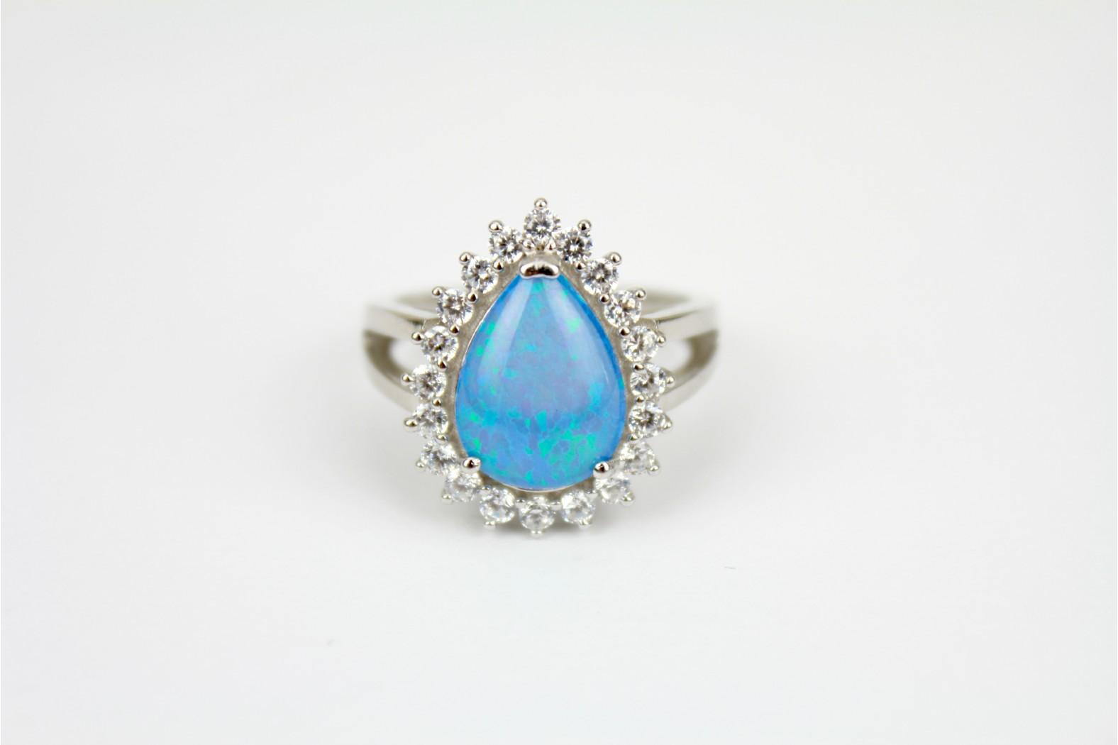 Blue Opal fire Teardrop shape embellished with cubic zirconia size 8 or P