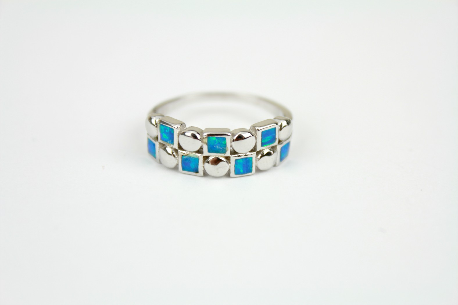 7 square Blue Opal fire band with silver detailing size 8 or P