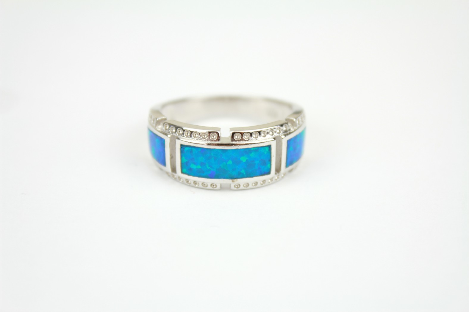Chunky band heavy design Blue Opal fire silver set. size 9 or R